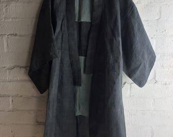 Vintage Japanese Handmade Blue Hemp Kimono