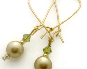 Golden Pearls Lime Green Long Dangle Earrings Modern Style Pearl Earrings Elongated Hoop Earrings Pearl Hoops 2 Inch
