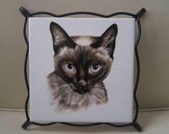 Mid Century Siamese cat trivet / spanish tile / kitschy kitchen / cat lover / kitty / blue eyes
