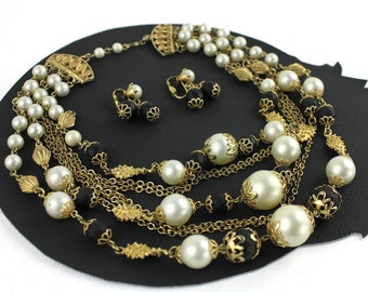 Vintage Alabaster Black & Gold Beaded Chain Multi Strand Necklace and Clip On Earring Set