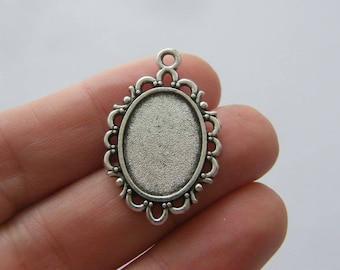 Frame pendants etsy 8 cabochon frame pendants antique silver tone fs160 mozeypictures Gallery