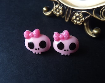 Cute Kawaii Baby Pink Skull Pink Bow Earrings - With Back Stoppers