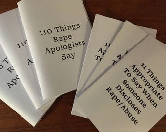 110 Things Rape Apologists Say/11 Things Appropriate To Say When Someone Discloses Rape/Abuse ZINE PACK DUO
