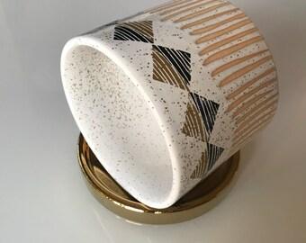 Ceramic Planter Medium, Ceramic Planter Glazed, Midcentury Planter, Ceramic Planter with Saucer, Gold Tray, Planter 6 inch,Housewarming Gift