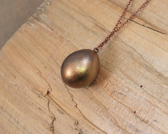 Electroformed Small Egg Copper Necklace J11