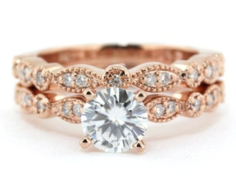 Rose Gold Wedding Set Vintage Style Engagement Ring And Wedding Band Sweet Bliss