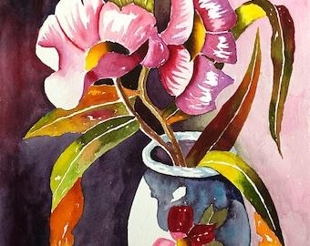 """Original Watercolor Painting, Flower Bouquet and Vase, Still Life Painting, Flower Painting, 9x12"""" Wall decor, Art"""