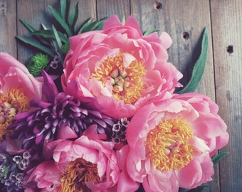 Peony Flower Photography Print Still Life Bouquet Rustic Wood Farmhouse Decor Pink Floral