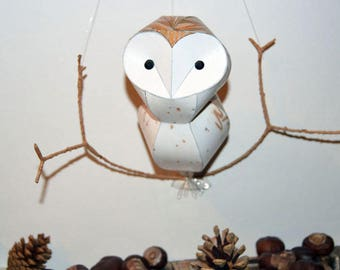 Barn owl Woodland mobile (small), faux taxidermy bird wall hanging