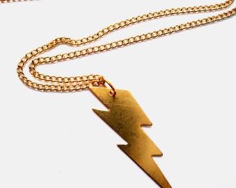 Brass lightning bolt charm necklace