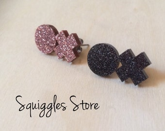 Rose Gold/Bronze, Black Shimmer, Silver Fabric or Red Hugs & Kisses Stud Earrings - Hypoallergenic Titanium Posts - Sensitive Ears