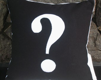 Question mark symbol/ sign throw pillow 16 inch black and white and cushion cover