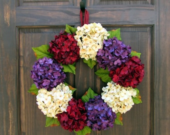 Burgundy Red, Cream and Purple Artificial Hydrangea Wreath for Late Summer Fall Front Door Porch Decor; Small - Extra Large Sizes