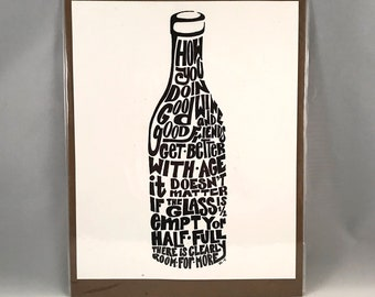 Word Art Wine Bottle Wall Decor, Handdrawn Art, Wine Art, Wine Decor, Wine Wall Decor, Wine Wall Art, Digital Download, Printable