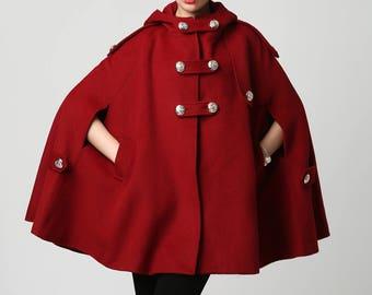Wool cape, winter cape, red wool cape, womens hooded cape, womens wool cape, cape coat, capes for women, plus size cape, custom made 1130