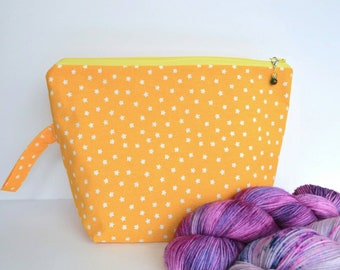 Medium Project Bag for Knitting, Yarn Pouch, Gift For Knitter, Crochet Project Bag, bright yellow print, fits 2-3 skeins