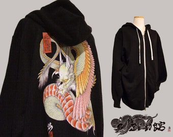 Japanese tattoo style hoodies WING DRAGON