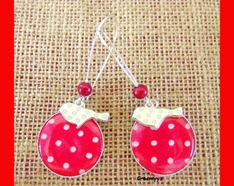 Earring red and bird