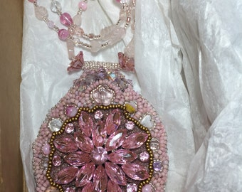 Pink crystal brooch beaded embroidery pendant necklace, rose quartz leaves