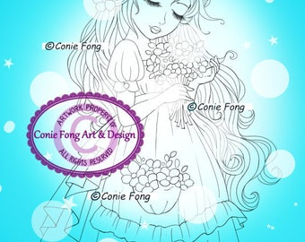 Digital Stamp, Digi Stamp, digistamp, Summer Blossoms by Conie Fong, Coloring Page, girl, flower, bride, birthday,
