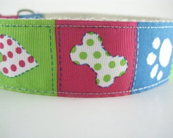 Colorful Bones Paws and Hearts hemp dog collar