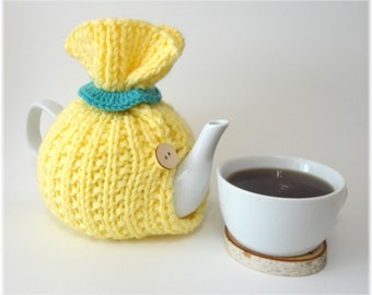 Tea Cosy, Tea Cozy, Yellow Tea Cosy, Handknit Tea Cozy, 6 cup teapot cozy