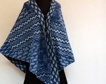 SCARF triangle shawl pointed patchwork cotton gaudri indigo and white cotton trim.