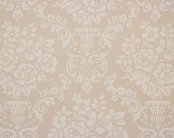 1950's Vintage Wallpaper White Rose Damask on Beige by the Yard -- Hand Painted Look