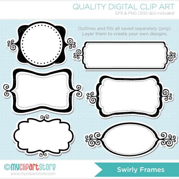 Frames - Swirly Whirly Frame Clipart - Shabby Chic Photo Frame ...