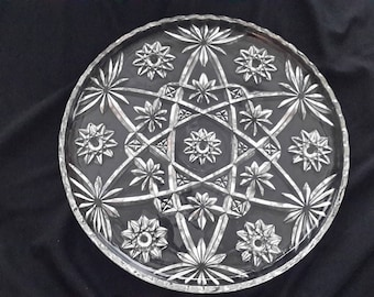 "13.5""-precut glass platter in the Star of David pattern by Anchor Hocking"