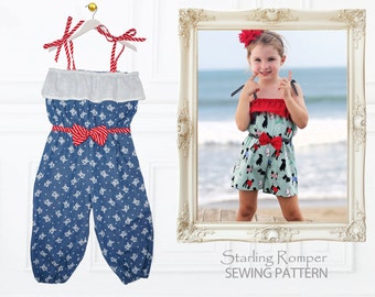 Romper Pattern, Childrens Sewing Pattern PDF, Girls sewing pattern, Pants Pattern, Girls Shorts Pattern, Romper Sewing Pattern, STARLING
