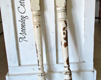 ViNTaGe FaRMHouSe RuSTiC CHiPPY CReaM WHiTe WooDeN TaBLe LeGs