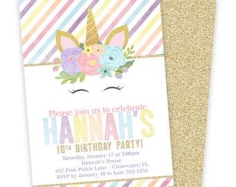 Unicorn Birthday Invitation, Rainbow Unicorn,  Unicorn Invitation, Unicorn Party, Unicorn Birthday, Unicorn, Printable Invitation | 657