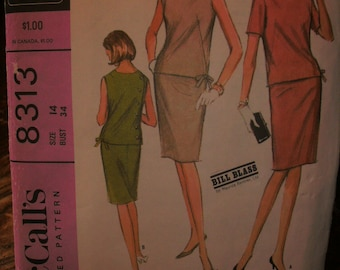 McCalls Printed Sewing Pattern ~ New York Designers' Collection ~ McCalls 8313 ~ Size 14 to 34 ~ 1966 Misses' Dress in Two Versions