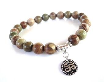 Om Mala Bracelet Spiritual Protection Rainbow Agate Yoga Jewelry Meditation Unique Christmas Birthday Gift Under 50 Item X42