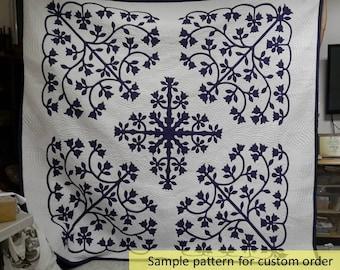 King coverlet, Hawaii quilt, Hawaiian décor, Tropical, One of a kind, Hula, Appliqued handmade quilt, homemade, Beach Quilts, Hawaiian gifts