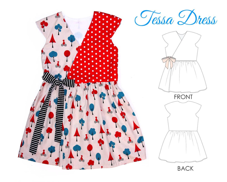 Girls Dress pattern pdf, Wrap Dress Pattern, Childrens Sewing ...
