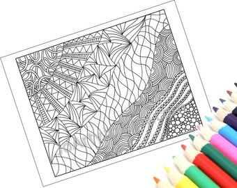 Printable Coloring Page, Zentangle Inspired, Zendoodle- Page 9