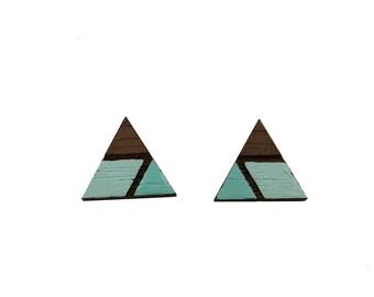 Blue Studs, Triangle Studs, Geometric Studs, Boho Studs, Boho Jewelry, Wood Studs, Wood Earrings, Wooden Studs, Gift for her, graduation