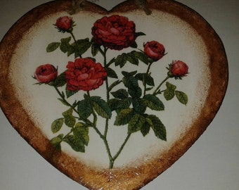 Wooden heart picture, red roses, decoupage decoration, hanging decor, mother's Day gift idea