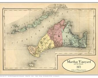 Martha's Vineyard 1871 Map  - Walling and Gray Atlas - Reprint Massachusetts