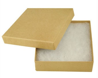 """100 Kraft Cotton Filled  jewelry Gift Boxes Size 3 1/2"""" X 3 1/2"""
