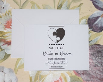 Heart Save The Date. Piece To Our Puzzle Theme.