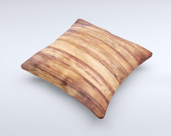 The Bright Stained Wooden Planks ink-Fuzed Decorative Throw Pillow