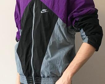 vintage 90s Nike purple/black/grey windbreaker zip up women's large