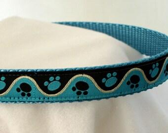 Paw Prints Collar - Dog Collar - Medium Dog Collar - 3/4 Inch Wide - Fits 11-17 Inches - Boy Dog Collar - Turquoise & Black - READY TO SHIP