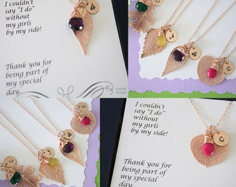 Bridesmaid Necklace Rose Gold Leaf Personalized, Bridesmaid Gift, Birthstone, Small Real Leaf Necklace, Initial Rose Gold Filled Charm