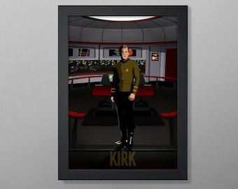 Captains of Star Trek: James T. Kirk (The Original Series) Art Poster Print