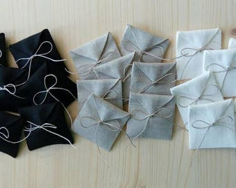 """3.5""""x3.5"""".Set of 10-30 Linen packaging envelopes.Jewelry packaging. Favor/gift/candy bags. Wedding favors.The set of 10, 20, 30 bags."""