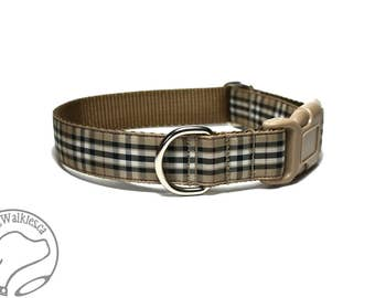 """Gold Pride of Scotland Tartan Dog Collar - 1"""" Wide (25mm) - Side Release or Martingale Dog Collar - Choice of Size and Style"""